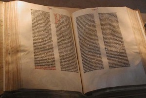 A vellum copy of the Gutenberg Bible owned by the U.S. Library of Congress