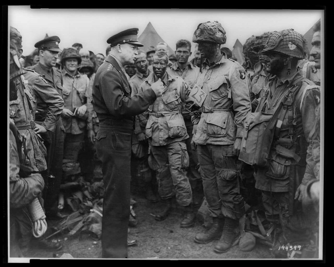 Gen. Dwight D. Eisenhower addresses American paratroopers in England on the evening of June 5, 1944, as they prepare for the D-Day invasion. (Library of Congress)