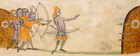 The sport of beursault developed in the Middle Ages to train military archers in the use of the longbow. Detail from the Luttrell Psalter, circa 1320-1340, in the British Library.