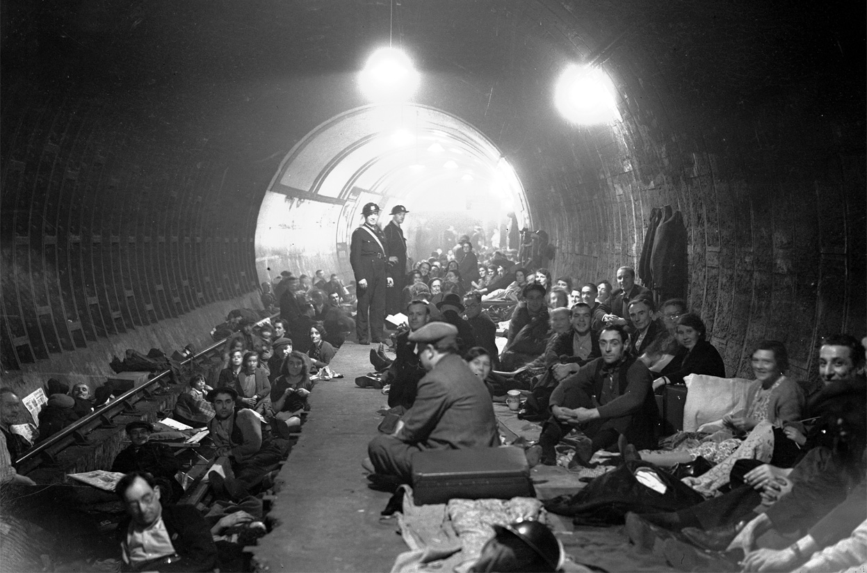 Londoners staked out the prime real estate of station platforms of the London Underground, bedrolls and picnic baskets in hand, or slept in human chains between the subway tracks until operators cleared them to switch the current back on at 4:30 a.m.