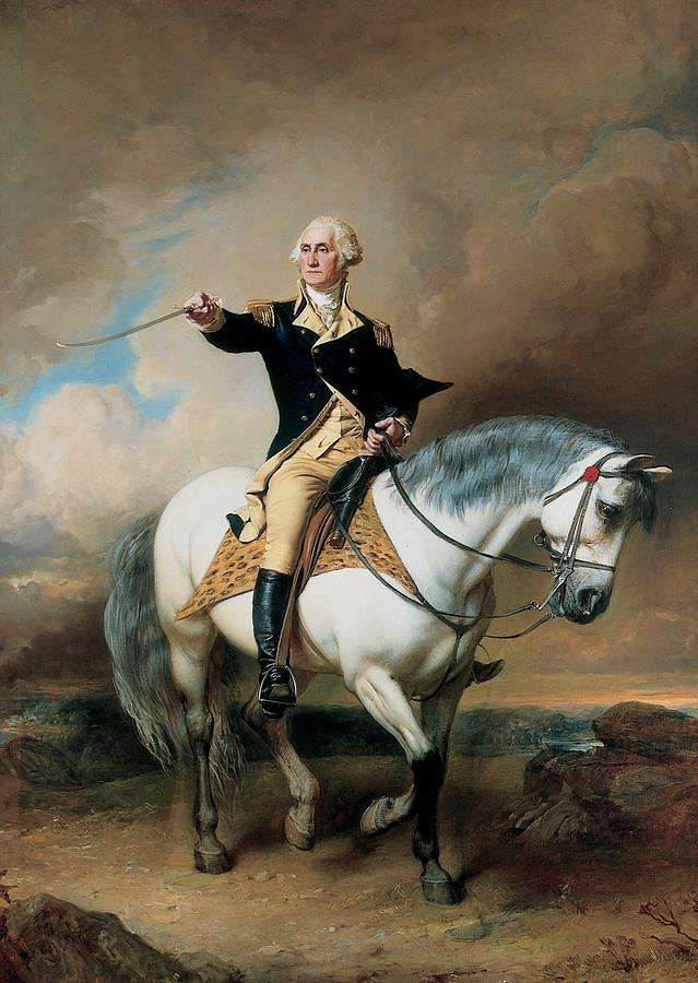 Portrait of George Washington Taking the Salute at Trenton by John Faed (1899)